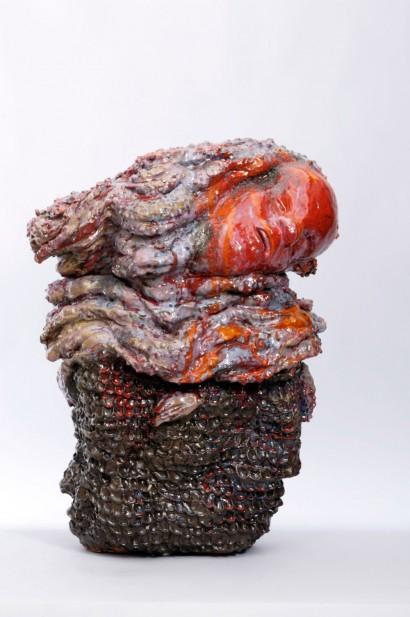 Johan CRETEN  (Né en Belgique en 1963)  «Creature»  2003  Grès émaillé  Pièce unique  H. 91 cm, L. 68 cm, P. 44 cm