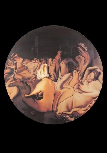 Pol BURY  (1922 – 2005)  «Le Bain turc»  2002  Série «Ramollissements virtuels»  Impression numérique sur toile  Signée Pol Bury et datée 02  Diamètre 100 cm  Certificat d'authenticité de Velma Bury