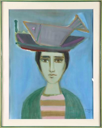 """""""Portrait"""" de Leopoldo Torres-Aguëro (1924-1995)  Technique mixte sur papier (huile et encre)  1958  Signée et datée en bas à droite  H. 86.5 x 66.5 cm Dimensions avec cadre : H. 106 x 85 cm"""