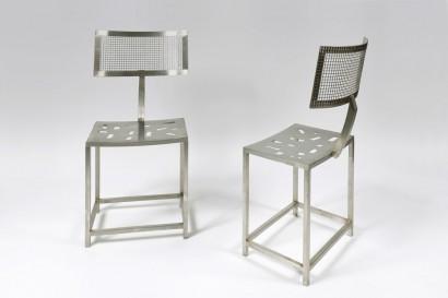 René BROISSAND   Paire de chaises  Inox  Pièce unique  44 x 45 x 97 cm