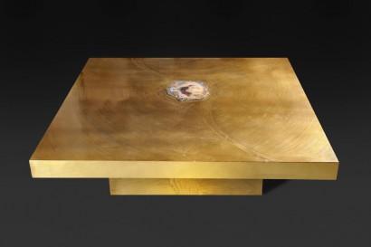 Marc d'Haenens (XXème siècle, Belgique)  Exceptionnelle table basse carrée Laiton gravé et importante tranche d'agathe  signée 35,5 x 125 x 125 cm