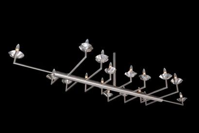 Suspension de Broissand  Lustre à 17 bras  2008  inox  200 x 100 cm