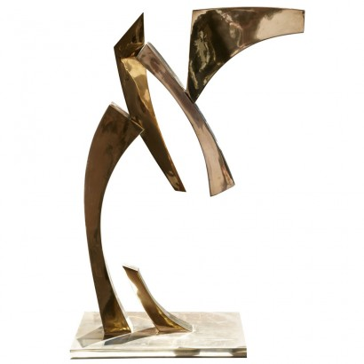 """""""Hydre"""" de Claude MERCIER (Né en 1924, Paris) 1977 Bronze poli doré N°1/8 140 x 110 x 47 cm Bibliographie:  Marie-Odile Van Caeneghem, """"Quand le métal fait signe"""", Somogy Editions d'Art, avril 2009 (reproduit p. 155, version en cuivre)"""