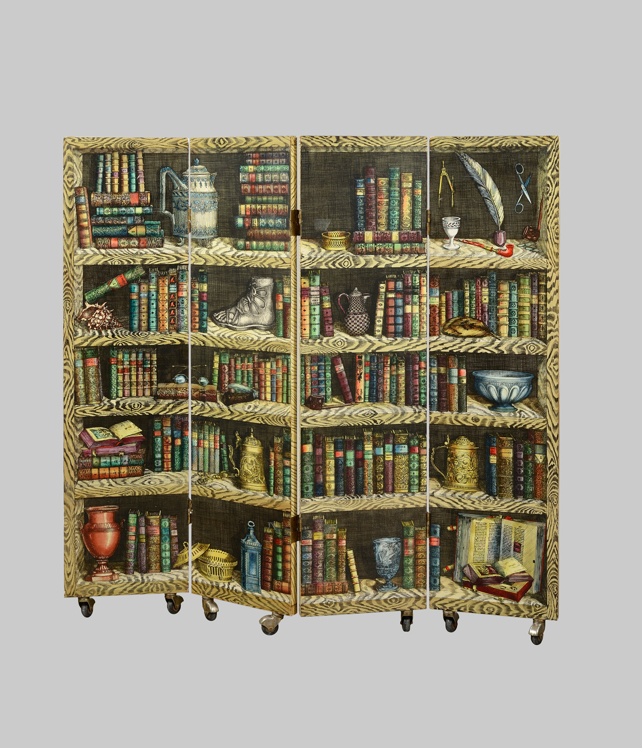 fornasetti paravent aux instruments circa 1950. Black Bedroom Furniture Sets. Home Design Ideas